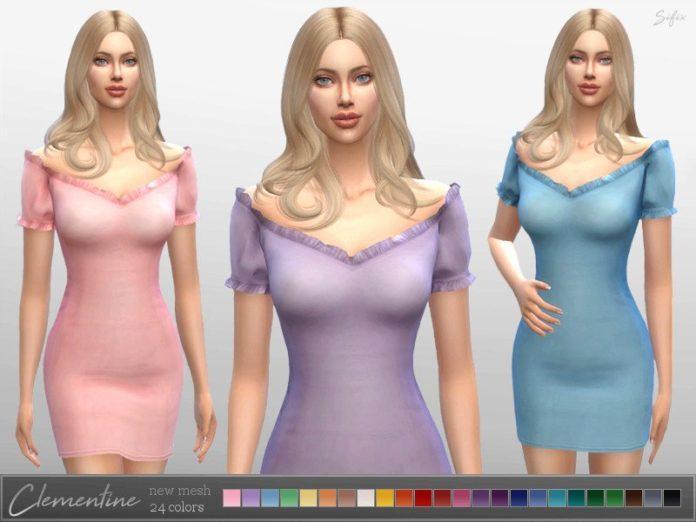 Облегающее платье Клементина от Sifix для Sims 4