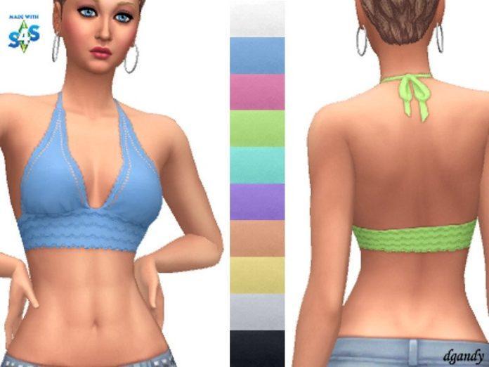 Вязаный короткий топ от dgandy для Sims 4