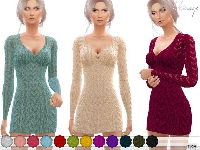 Вязаное мини-платье от ekinege для Sims 4