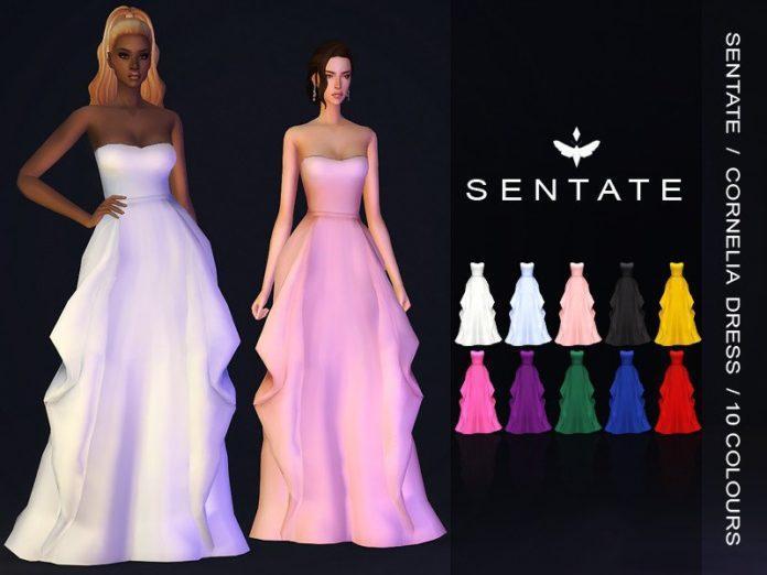 Вечернее платье Cornelia от Sentate для Sims 4