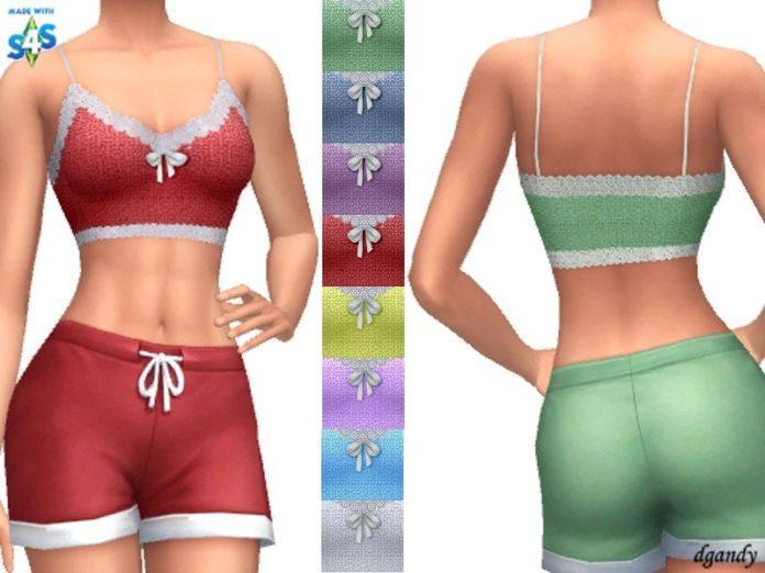 Вязаный короткий топ на лямках от dgandy для Sims 4