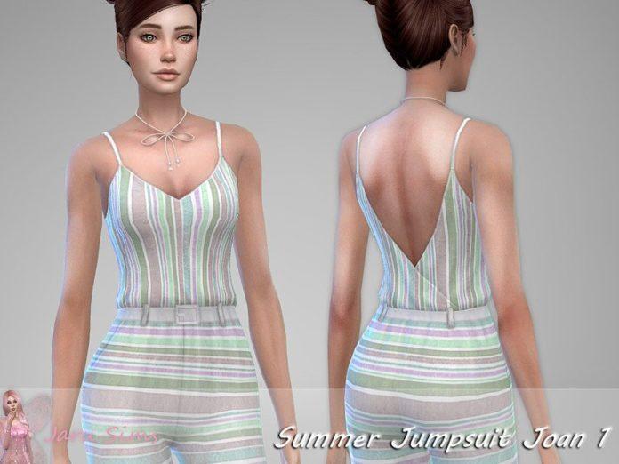 Летний комбинезон Joan от Jaru Sims для Sims 4