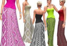Длинная юбка с геометрическими узорами от dgandy для Sims 4