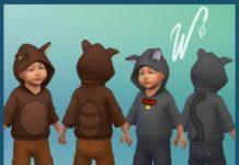 Толстовка для малышей Тануки/котик от WibblyPocry для Sims 4