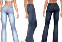 Джинсы клёш от колена от dgandy для Sims 4