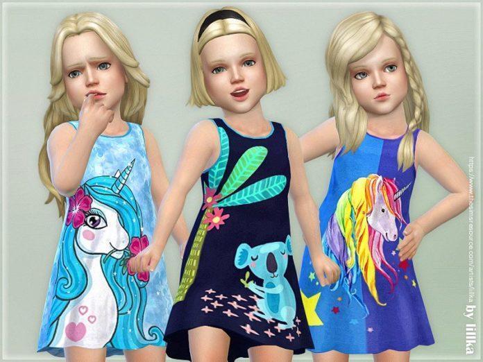 Детский сарафан с единорогами от lillka для Sims 4