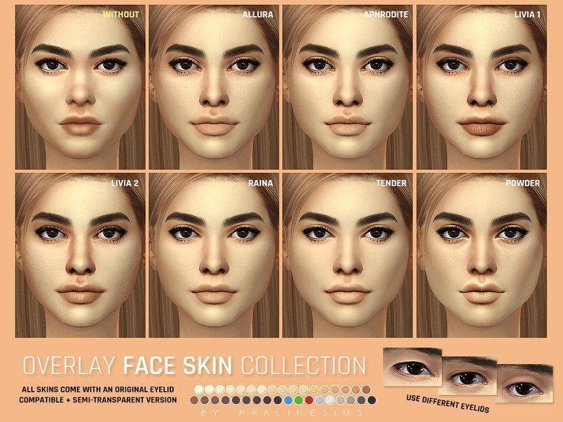 Скинтон для лица от Pralinesims для Sims 4