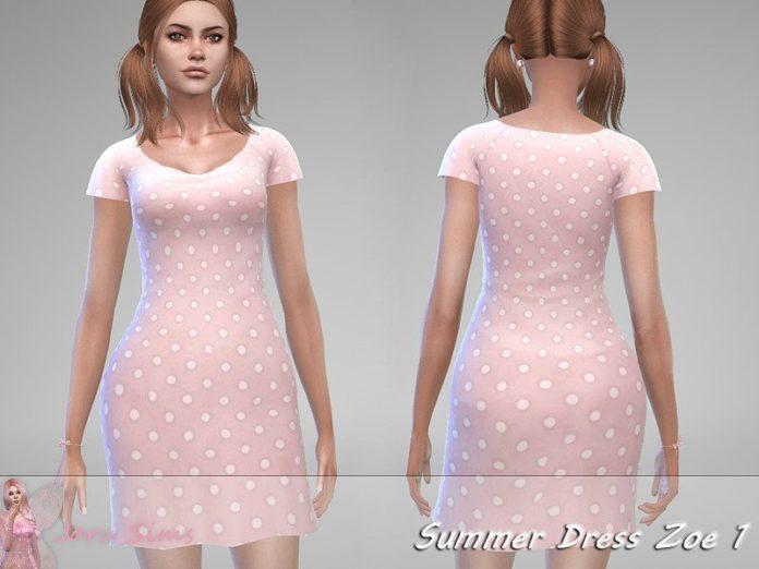 Сарафан в горошек от Jaru Sims для Sims 4