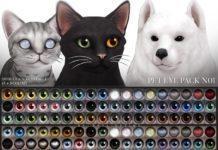 Набор глаз для питомцев №1 от Pralinesims для Sims 4