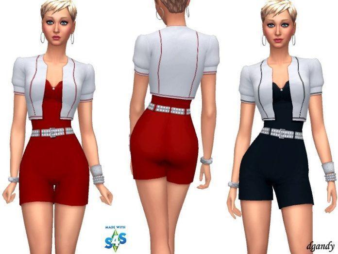Короткий комбинезон от dgandy для Sims 4