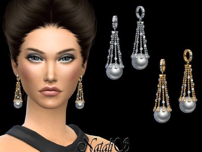Длинные серьги с жемчужинами от NataliS_ для Sims 4