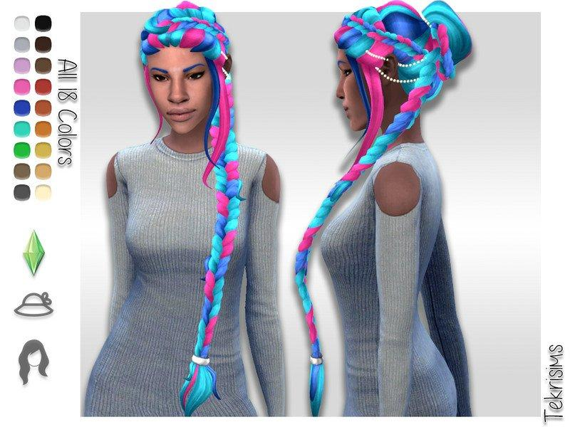 Высокая прическа с косой Nadia от TekriSims для Sims 4