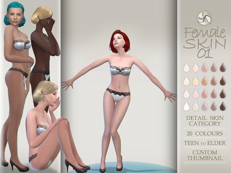 Женский скин от BAkalia для Sims 4