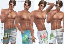 Шорты с тропическим принтом от Sims House для Sims 4
