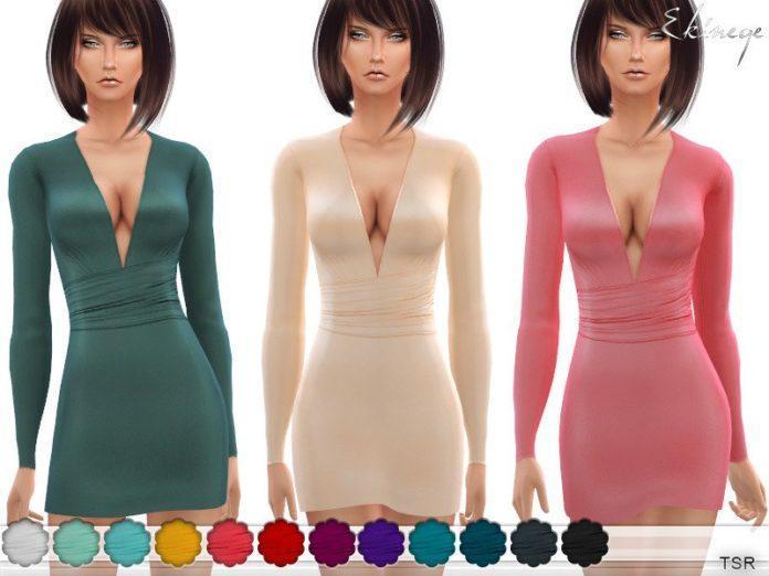 Атласное платье с глубоким вырезом от ekinege для Sims 4