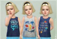 Майки с рыбками для девочек от lillka для Sims 4