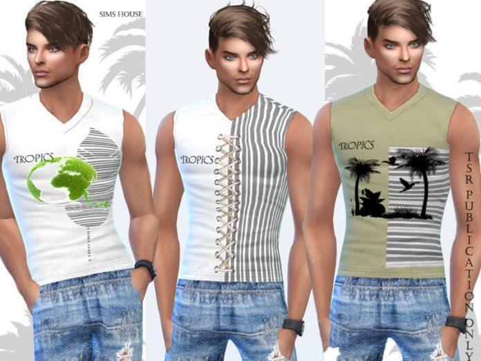 Футболка с тропическим принтом от Sims House для Sims 4