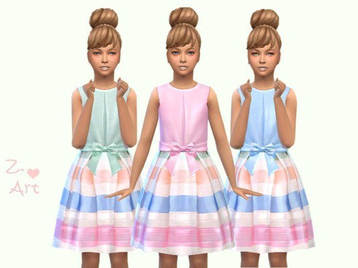 Нарядное платье в полоску от Zuckerschnute20 для Sims 4