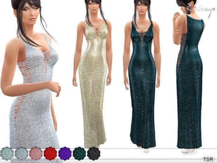 Вязаное платье Металлик от ekinege для Sims 4