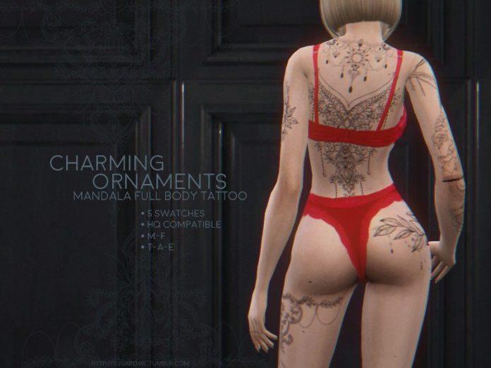Женские татуировки на все тело от sugar owl для Sims 4