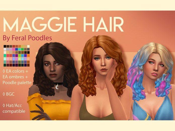 Прическа Maggie от feralpoodles для Sims 4