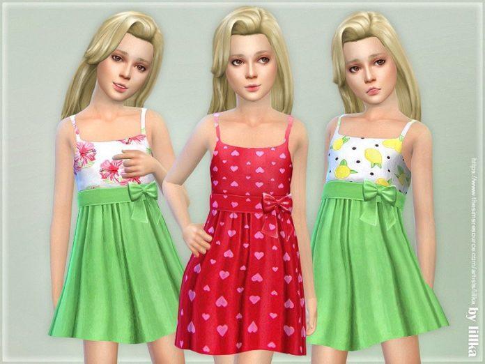 Детский сарафан от lillka для Sims 4