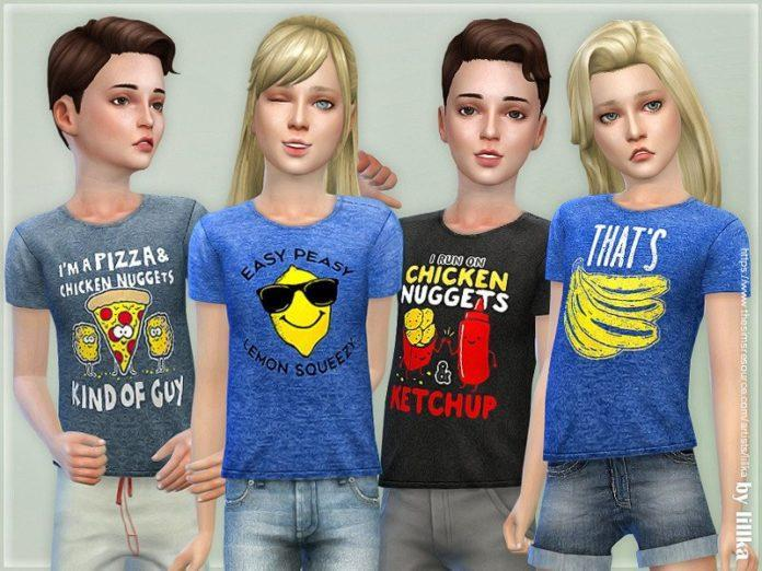 Детская футболка с принтом от lilka для Sims 4