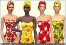 Фруктовый набор пляжной одежды от bukovka для Sims 4