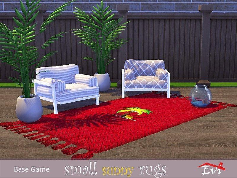 Набор ковров с тропическим рисунком от evi для Sims 4