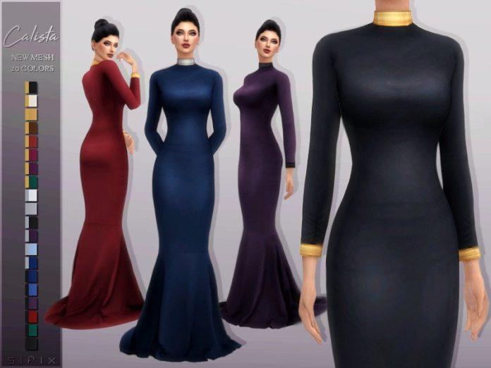Длинное вечернее платье Calista от Sifix для Sims 4