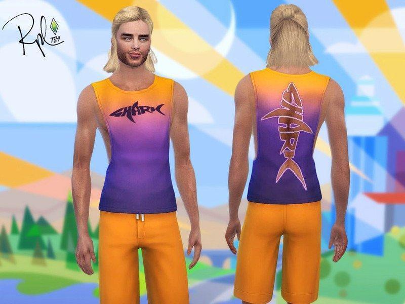 """Мужская безрукавка """"Shark """" от RobertaPLobo для Sims 4"""