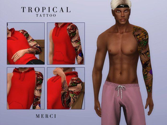 Тропические тату от -Merci- для Sims 4