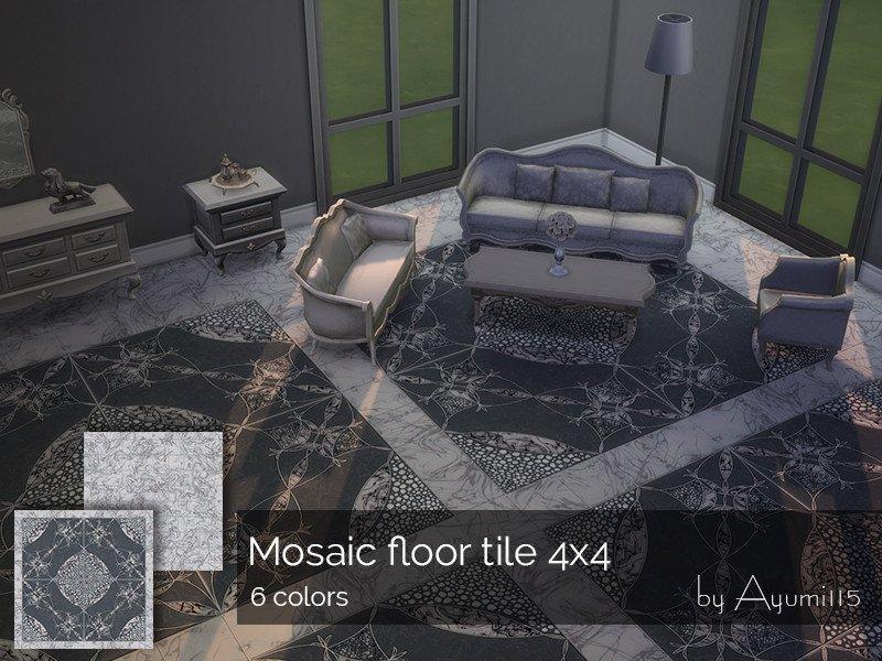 Напольная мозаичная плитка 4*4 от Ayumi115 для Sims 4