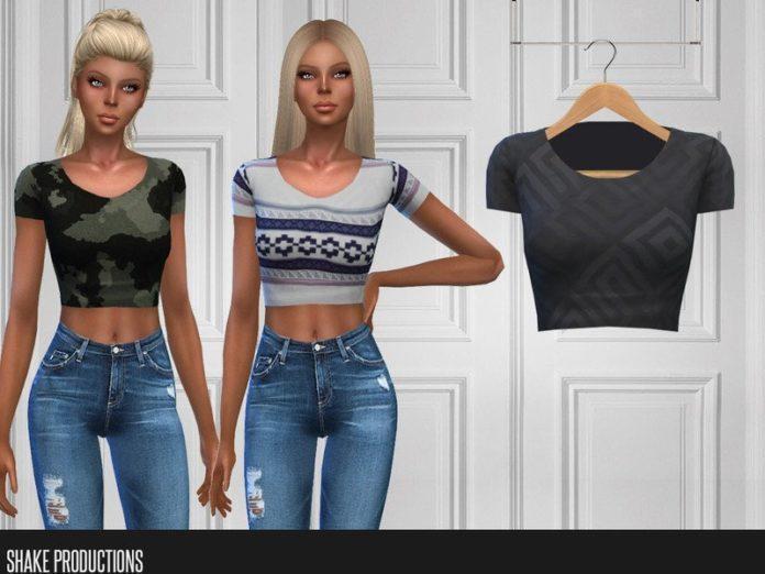 Короткая футболка от ShakeProductions для Sims 4