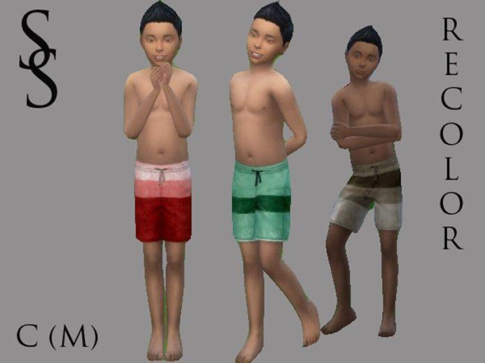 Шорты для купания для мальчиков от SaffronSiren для Sims 4