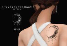 "Татуировка ""Солнце в луне"" от -Merci- для Sims 4"