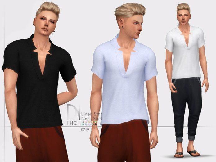 Мужская футболка с глубокой горловиной от DarkNighTt для Sims 4