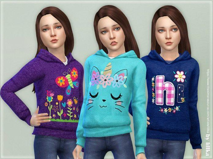 Худи для девочек от lillka для Sims 4