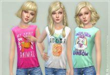 Безрукавки с рисунком для девочек от lillka для Sims 4