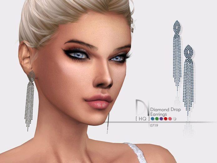 Бриллиантовые длинные серьги от DarkNighTt для Sims 4