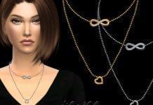 """Колье """"Бескончность"""" с двумя цепочками от NataliS для Sims 4"""