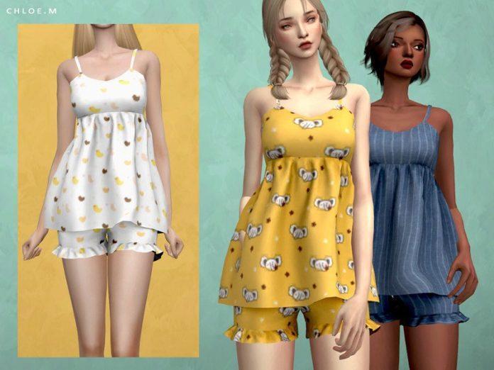 Женская пижама от ChloeMММ для Sims 4