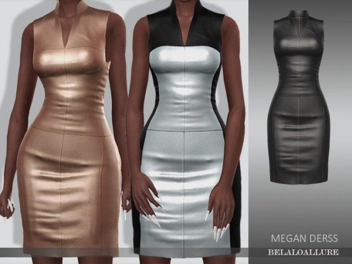 Кожаное платье Мэган от belal1997 для Sims 4