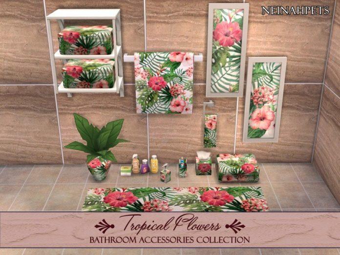 Набор декора для ванной «Тропические цветы» от neinahpets для Sims 4