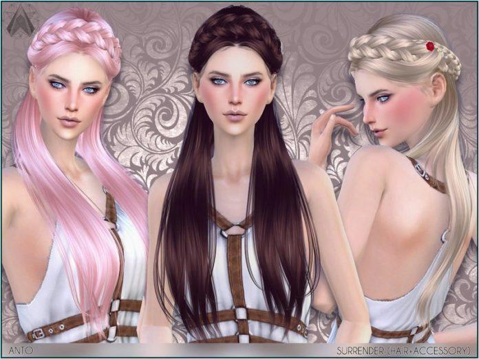 Женская прическа Surrender от Anto для Sims 4