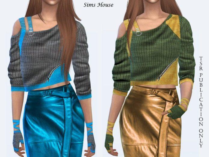 Короткий свитер с открытым плечом от Sims House для Sims 4