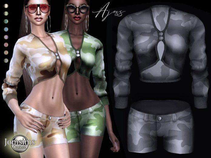 Камуфляжный комплект одежды от jomsims для Sims 4