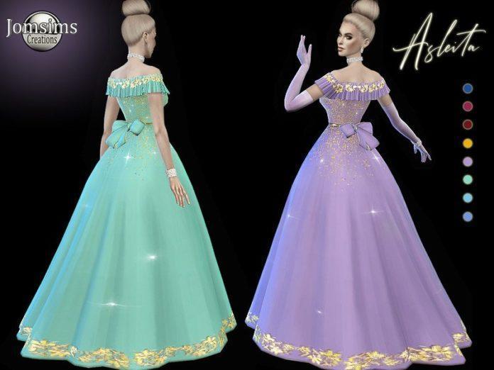 Бальное платье Asleita от jomsims для Sims 4