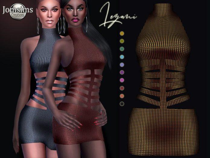 Мини-платье Lezani от jomsims для Sims 4