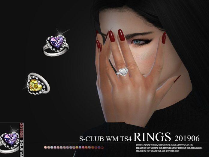 Кольцо с камнем в форме сердца от S-Club для Sims 4